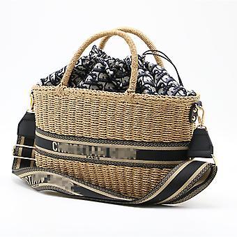 Women Hand-woven Straw Handbag Big Capacity Casual Shoulder Crossbody Bag