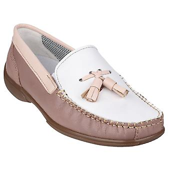Cotswold Womens Biddlestone Slip On Loafer Shoe White/Beige/Tan