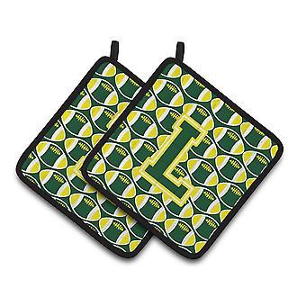 Bokstaven L fotboll grön och gul par grytlappar