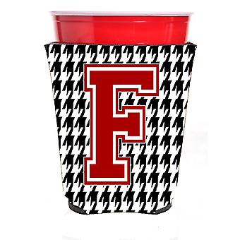 Monogram - Houndstooth  Initial  F Red Solo Cup Beverage Insulator Hugger