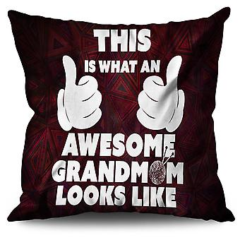 Awesome Grandmom Funny Linen Cushion 30cm x 30cm | Wellcoda