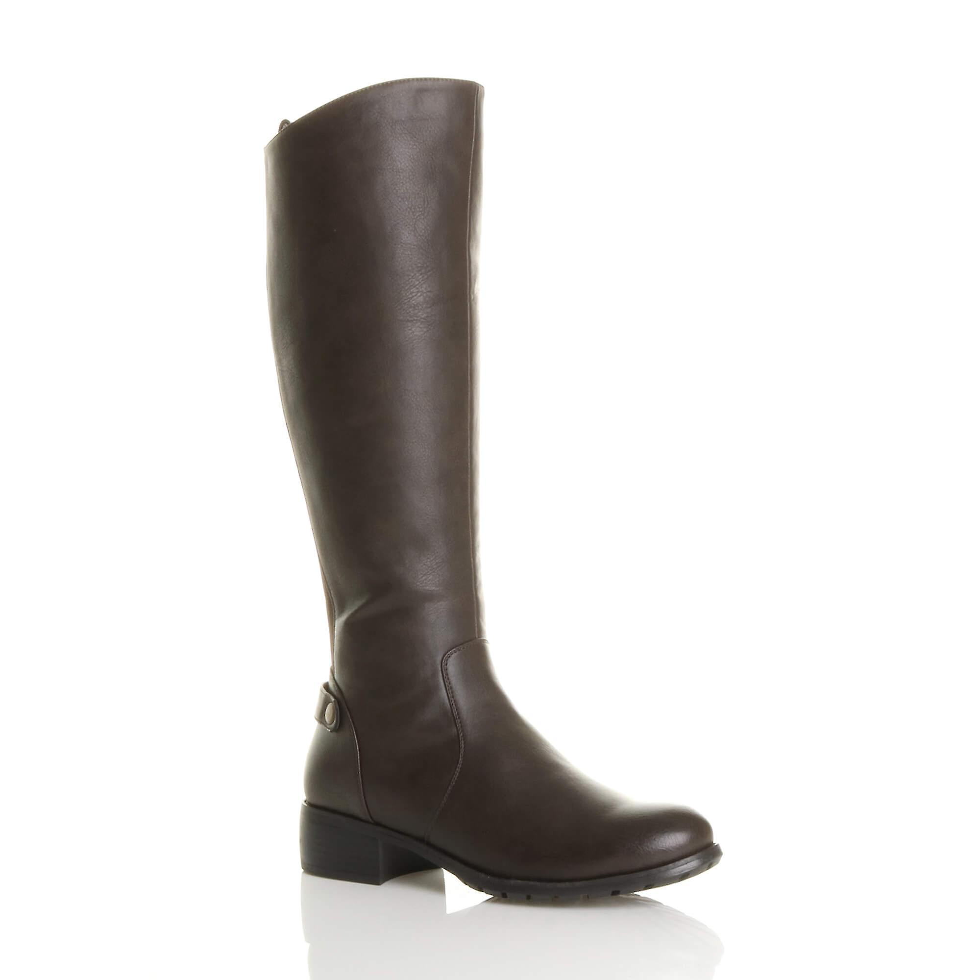 Ajvani damskie łydki mid zip płaski obcas rozciągnąć klin kolano buty jeździeckie OwXZH