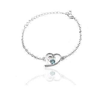 Himmelsblå Womens Silver kärlek hjärtat smycken armband BGCW52