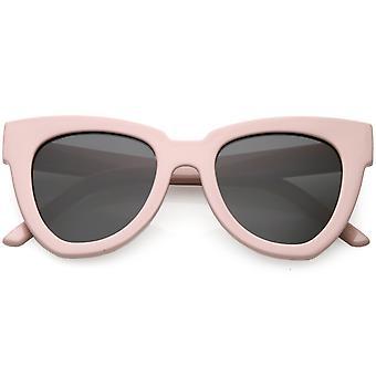 Oversize Horn umrandeten Cat Sonnenbrille Neutral farbige flache Augenlinse 49mm
