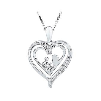 Sterling Silver Mothers Love and Child Heart Pendant Necklace with Accent Diamonds and Chain