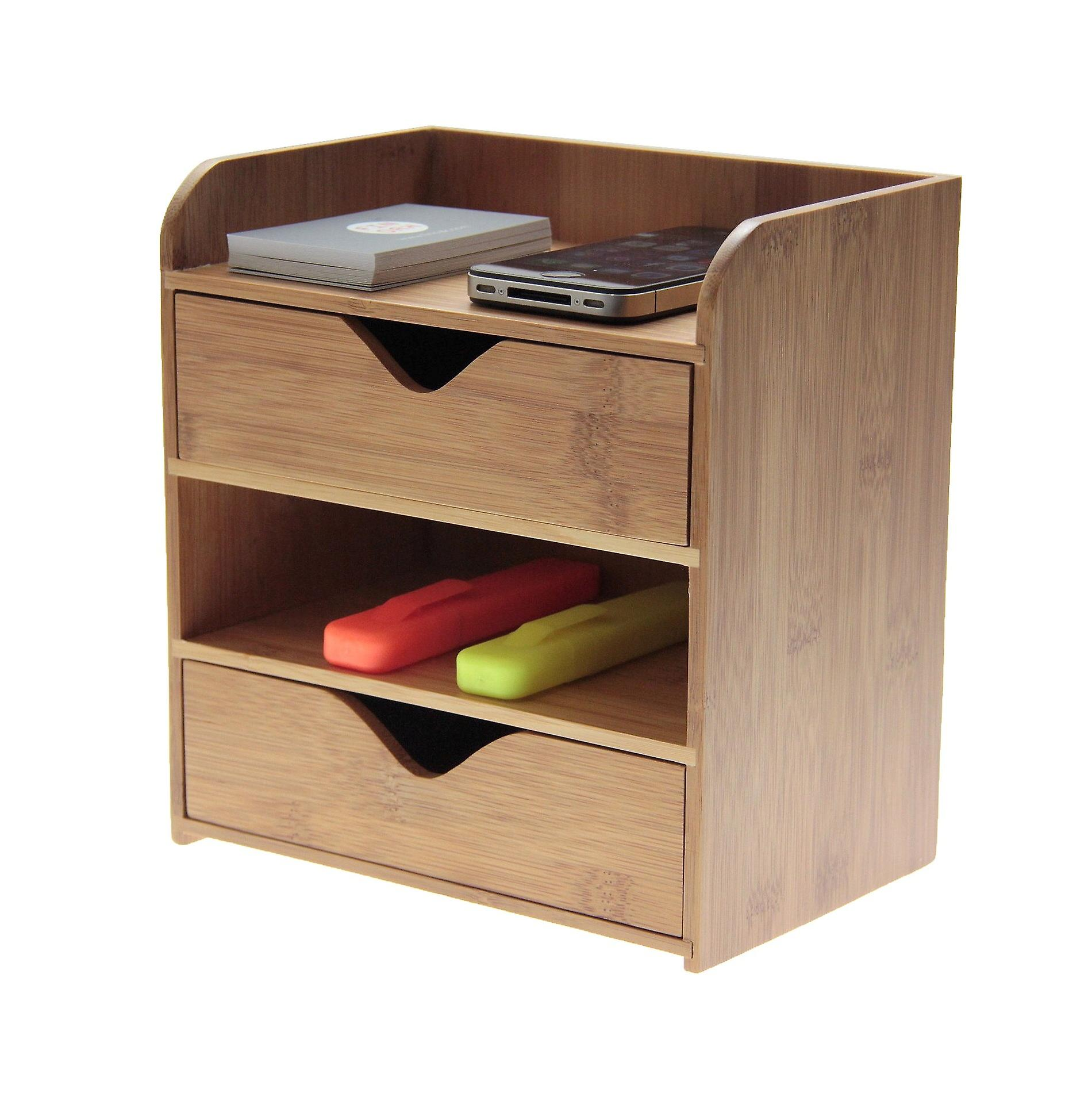 Woodquail Bamboo 4 Tier Desk Organiser Stationery Box, Desk Tidy, Office Suppliers