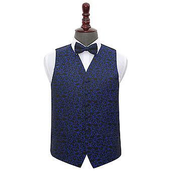 Negro & Chaqueta de boda giratoria azul & Conjunto de corbatas de arco