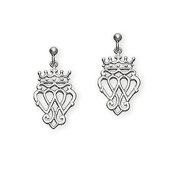 Sterling Silver Traditional Luckenbooth 'Love and Loyalty' Design Pair of Earrings - E182