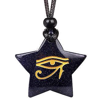 Magische Superstar alten Auge des Horus Befugnisse Amulett Goldstone Glücksbringer Anhänger Halskette