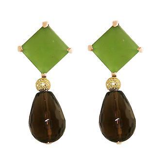 Boucles d'oreilles GEMSHINE Chalcédon, Quartz fumé, 925 Silver ou Gold Plated de haute qualité.