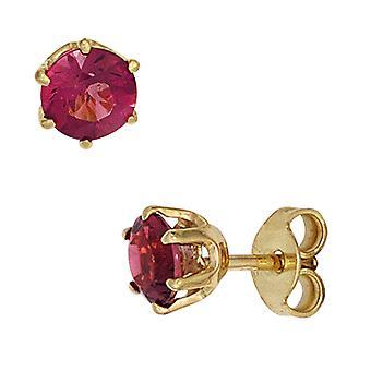 Ouro de rosa turmalinas gema Stud brincos 585 ouro amarelo ouro 2 brincos