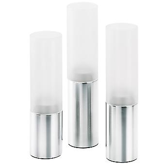 Wind light set 3-piece stainless steel matte combined with glass