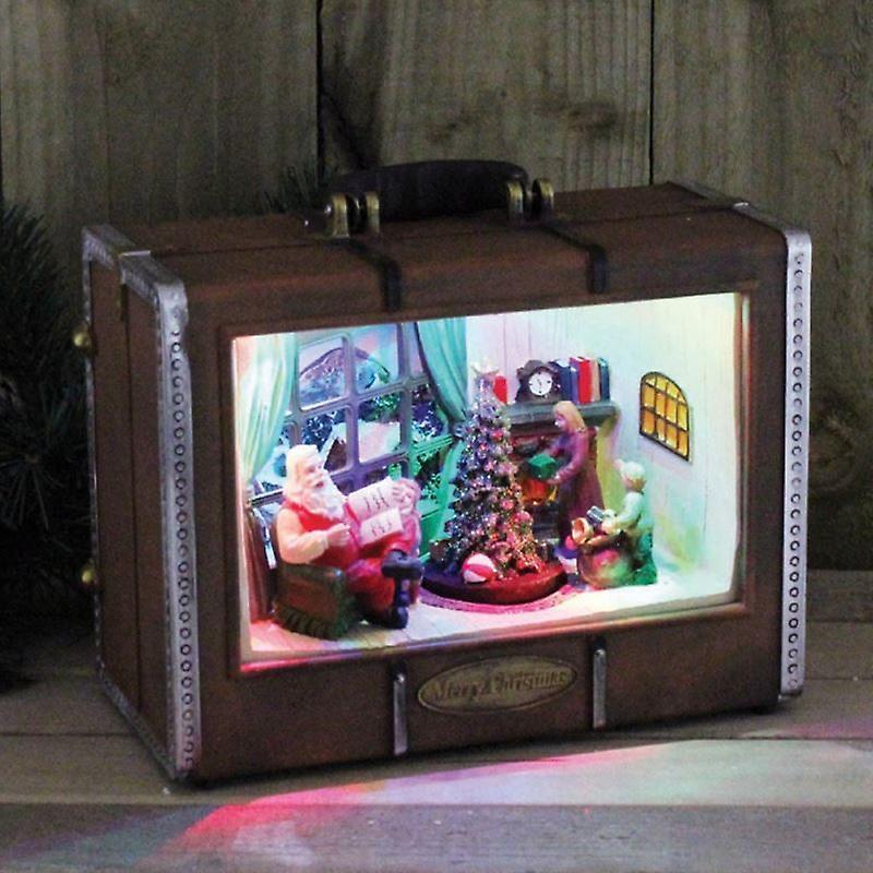 Kingfisher Large Christmas Suitcase Indoor LED Light Up Scene Setter Decoration Ornament Scb300
