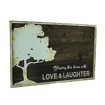 Rustic Wood Love and Laughter Blessings Tree Wall Hanging