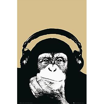 Steez Poster Monkey with Headphone