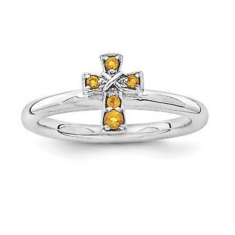 2,25 mm 925 Sterling Silber Rhodium vergoldet stapelbare Ausdrücke Rhodium Citrine religiösen Glauben Kreuz Ring Schmuck Geschenke