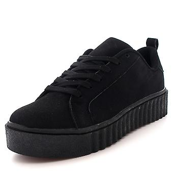 Womens Chunky Creepers Platform Lace Up Pumps schoenen Plimsolls Trainers UK 3-10