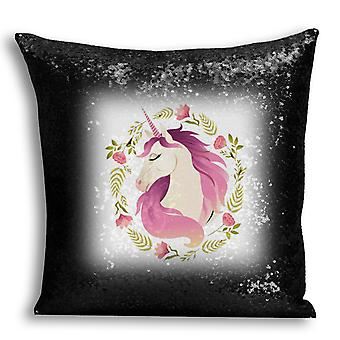 i-Tronixs - Unicorn Printed Design Black Sequin Cushion / Pillow Cover with Inserted Pillow for Home Decor - 9