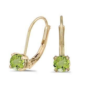 LXR 14k Yellow Gold Round Peridot Folding Bracket Earrings 0.48 ct