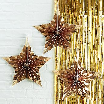 Gold Star Shaped Hanging Fan Decorations Set of 3 Christmas Decorations
