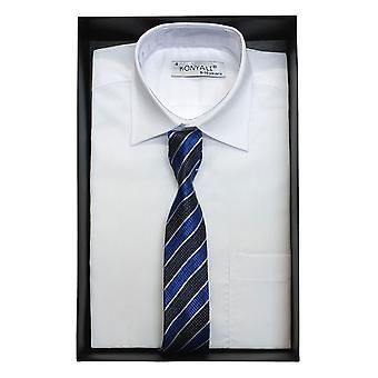 Jongens klassieke kraag wit overhemd met een keuze van stropdas