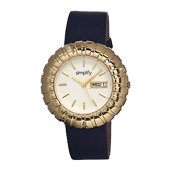 Simplify The 2100 Leather-Band Ladies Watch w/Date - Gold/Black/White
