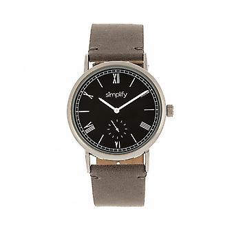 Simplify The 5100 Leather-Band Watch - Charcoal/Black