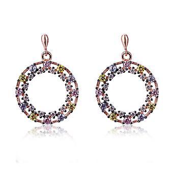 Orphelia Silver 925 Earring Rose cirkel met grote en kleine zirkonium - ZO-7464