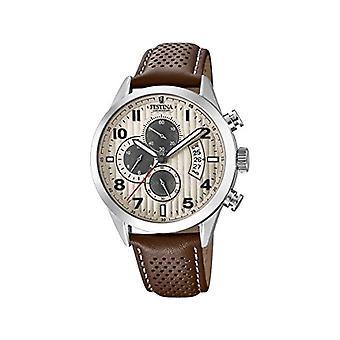 שעון קוורץ של festina גברים הכרונוגרף עם רצועת עור F20271-2