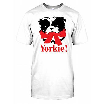 Yorkie trägt ein rotes Band - Yorkshire-Terrier Kinder T Shirt