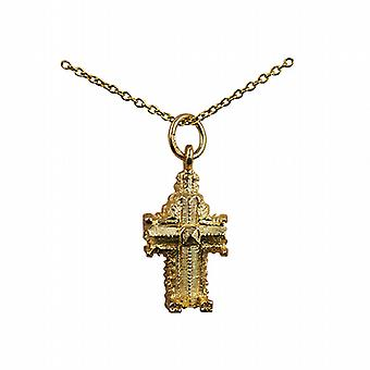 9ct Gold 11x17mm hollow Westminster Abbey Pendant with a cable Chain 20 inches