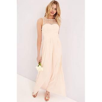Little Mistress Womens/Ladies Nude Embellished Top Maxi Dress