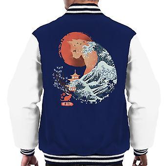 Oriental Cat Wave Men's Varsity Jacket