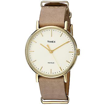 Timex Unisex Fairfield 37 Taupe Leather Slip-Thru Strap Watch TW2P98400