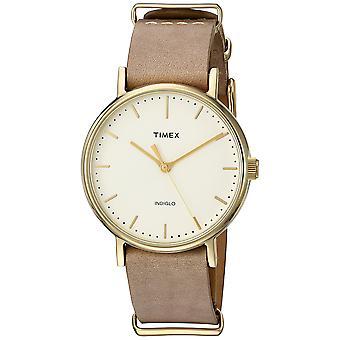 Timex Unisex Fairfield 37 Taupe lederen riem-Slip-Thru horloge TW2P98400