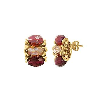Eternal Collection Luciana Purple And Red Crystal Stud Pierced Earrings