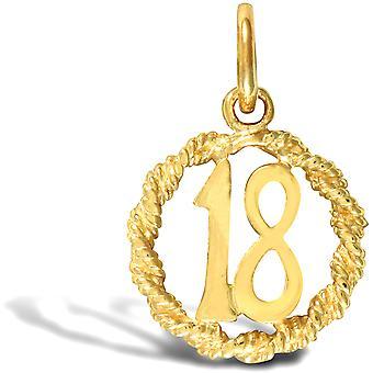 ジュエルコ ロンドン レディース ソリッド 9ct イエローゴールド 18 バースデイロープ リング チャーム ペンダント