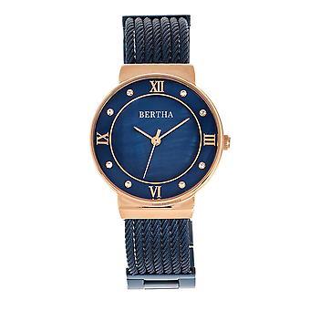 Reloj de pulsera de cable de madre perla de Bertha Dawn - oro rosa /azul