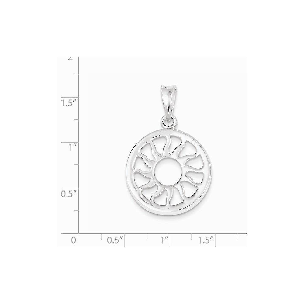 925 Sterling Silber poliert Sonne Anhänger Halskette Schmuck Geschenke für Frauen - 4,0 Gramm