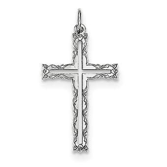 925 Sterling Argento Solido Cut-out lucido Laser Inciso Laser Designato Cross Ciondolo - .9 Grams