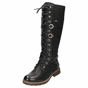 Rieker Tex Gothic punk knæ flad kamp lace up støvler 94732-00