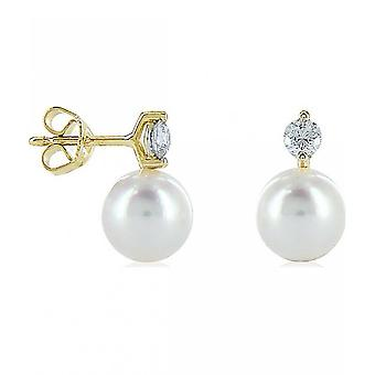 Luna-Pearls - Studs Brilliant 0.40ct - Yellow Gold 750 Akoya Beads 8.5-9 mm