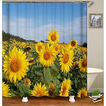 Sunflowers Field Under Blue Sky Shower Curtain