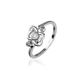 Sterling Silver Traditional Scottish 'Cupid' Design Ring WIth Cubic Zirconia Stone