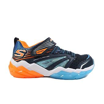 Skechers S Lights: Rapid Flash 2.0 90725L Navy Boys Rip Tape/Bungee Lace Light Up Trainer