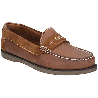 Hush Puppies Finn Mens Leather Loafers Tan