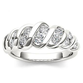 IGI certifié 14 k or blanc 3/4ct TDW Diamond Wedding Band (I-J, I2)