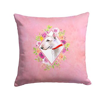 Bull Terrier Pink Flowers Fabric Decorative Pillow