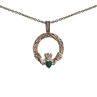 9ct Gold 18x16mm green agate set Claddagh Pendant with a 1.1mm wide cable Chain 20 inches