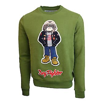 Top Gun Dog Fighter Crewneck Sweatshirt Olive